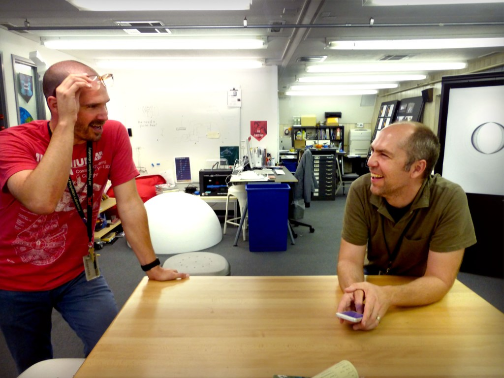"Joby Harris (left) and Dan Goods in ""The Studio"" at JPL. (NASA/JPL)"