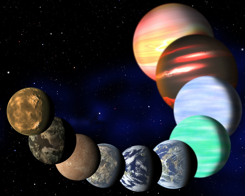 This artist's illustration represents the variety of planets being detected by NASA's Kepler spacecraft. A new analysis has determined the frequencies of planets of all sizes, from Earths up to gas giants. (C. Pulliam & D. Aguilar, CfA)