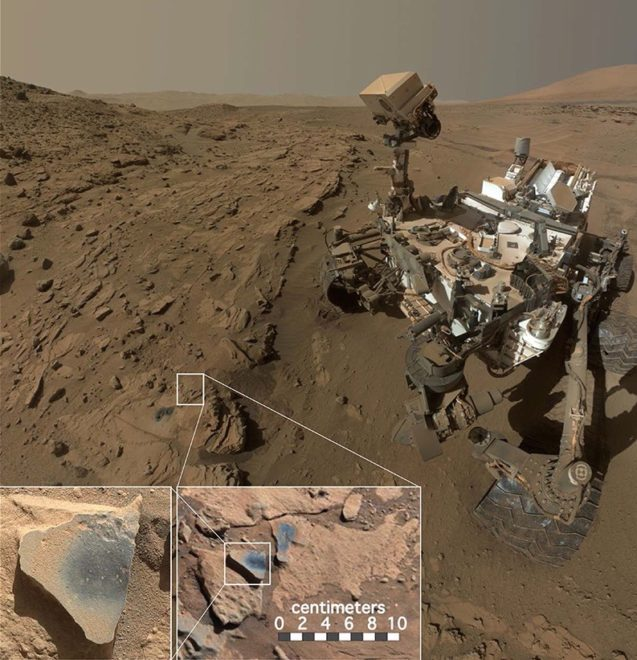 Curiosity rover and evidnce of managnese oxide on rock at xxx