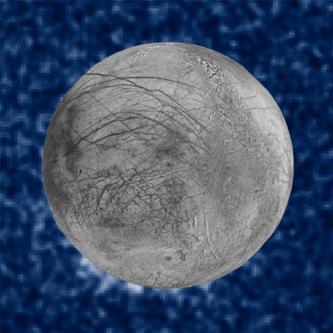 Figure 2: This composite image shows suspected plumes of water vapor erupting at the 7 o'clock position off the limb of Jupiter's moon Europa. The Hubble data were taken on January 26, 2014. The image of Europa, superimposed on the Hubble data, is assembled from data from the Galileo and Voyager missions. Credits: NASA/ESA/W. Sparks (STScI)/USGS Astrogeology Science Center Image comparison of 2014 transit and 2012 Europa aurora observations
