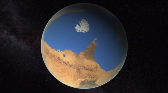 Artist rendering of a possible northern ocean on Mars. (NASA/ JPL-Caltech.)