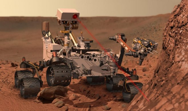 The ChemCam instrument, with its laser zapper, identified the element boron as Curiosity climbs Mount Sharp. (NASA)